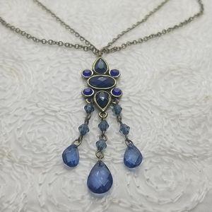1928 Y Drop Blue Pendant Fringe Bronze Necklace